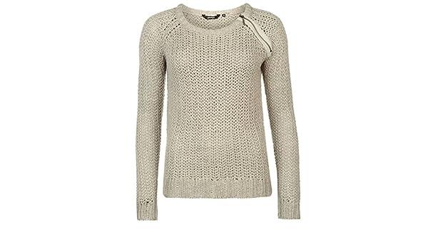 fb6c3c0a5d Golddigga Womens Zip Shoulder Knit Jumper Sweater Pullover Long Sleeve Crew  Neck Soft Grey 14 (L)  Amazon.co.uk  Clothing