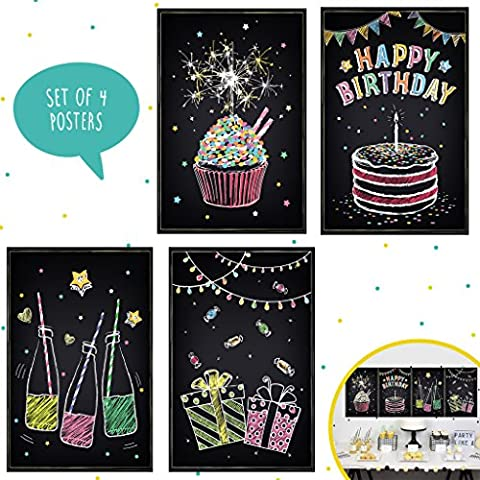 Set of Four 11X17 Happy Birthday Wall Decor, Perfect for Party Decorations Ideas. You Can Use These Black Posters as Decorative Wall, Celebration Favors or