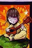 Artland Qualitätsbilder I Bild auf Leinwand Leinwandbilder Wandbilder 60 x 90 cm Menschen Kind Graffiti Creme D7SD Junge mit Gitarre Graffiti