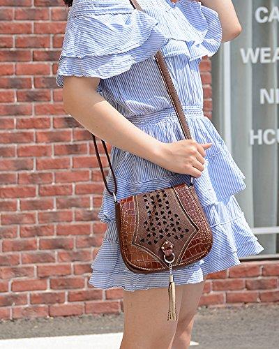 Vintage Damen PU-Leder Tasche Umhängetasche Messenger Bag Schultertasche Dunkelbraun Einheitsgröße Dunkelbraun