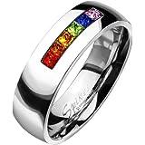 Paula & Fritz, anello in acciaio inox chirurgico 316L, con fila di ziconia, di colore arcobaleno, con 8 mm di larghezza, dime