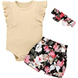 Toddler Baby Girl Summer Clothes Outfits Sleeveless Solid Ruffle Romper+Floral Shorts+Headband 3Pcs