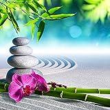 lifestyle4living Bild, Wandbild, Glasbild, Relax Stones mit Bambus, Orchidee und Steine, Grün, Weiß, Pink, Blau, Grau, Entspannung, 30x30 cm