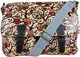 Ladies Oilcloth Polka Dots/Flower/Owl Print Cross Body Messenger Bag Satchel Bag