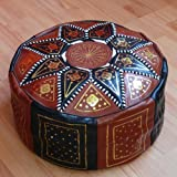 Marrakech Accessoires Orientalisches Sitzkissen Pouf Bodenkissen Hocker Leder Kissen XXL ø 70 cm