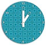 Muster Geometrisch Türkis, Wanduhr Durchmesser 30cm mit weißen eckigen Zeigern und Ziffernblatt, Dekoartikel, Designuhr, Aluverbund sehr schön für Wohnzimmer, Kinderzimmer, Arbeitszimmer