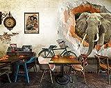 LHDLily 3D Wandbild Tapete Wallpaper Fresken Mural Benutzerdefiniertes Hintergrundbild Nostalgische Alte Mauer Elefant 3D-Tv-Kulisse Home Möbel Wohnzimmer Schlafzimmer Wandbild 3D Wallpaper 400cmX300cm