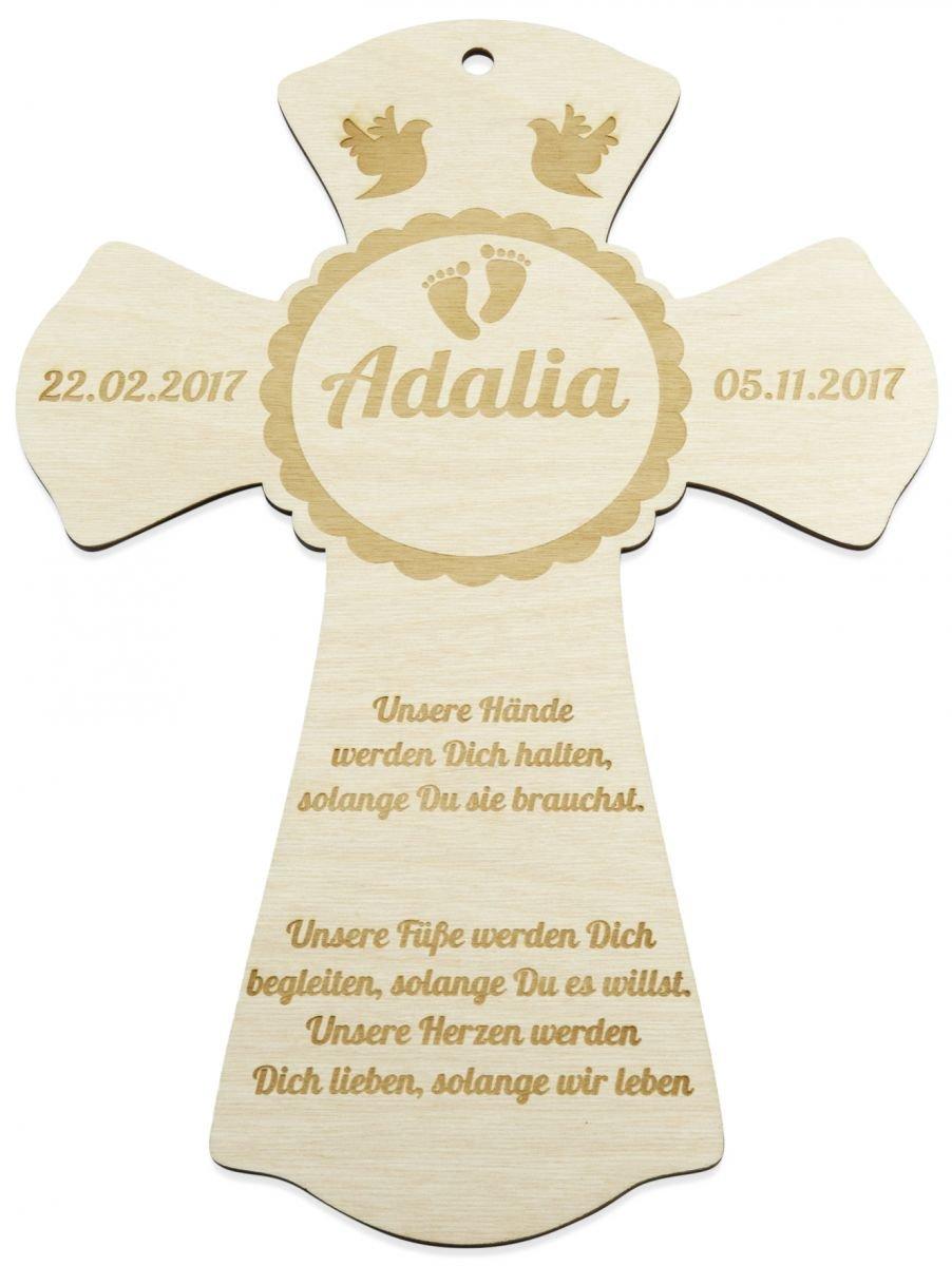 Taufkreuz aus Holz mit Gravur des Namen Taufspruch Geburtsdatum Taufdatum | Geschenk zur Taufe & Geburt | Taufgeschenk | Personalisiert | Größe 28 x 30 cm