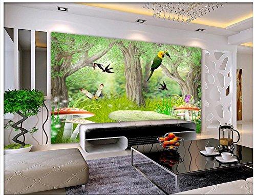 Mznm Custom 3D Photo Wallpaper 3D Wandbilder Tapeten Wald Natur Landschaft Abbildung Tv-Einstellung Wand Blumen und Vögel 120 X 100 Cm