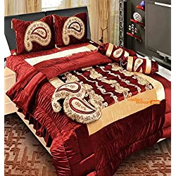 The Intellect Bazaar Lycra Luxury Designer Wedding Bedding Set With Quilt, Filled Cushions and Bolsters
