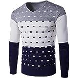 Jerséi para Hombre de Tejer suéter Caliente Colorblock Jerseys de Punto básico Jersey de Manga Larga de algodón Cómoda Sudade