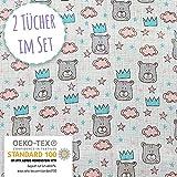 Mammacita Pucktuch Baby (2er Set) Spucktücher Baby aus OEKO TEX Baumwolle - Mulltücher für Babys mit Bären - hochwertiges Musselin Tuch, Puckdecke, Stilltuch (120x120 cm + 75x75 cm)
