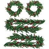 com-four® 4 künstliche Weihnachtsgirlanden und Adventskranz, mit ECHTEN Kiefern-zapfen und roten Beeren (04 TLG - Girlande und Kranz mit Zapfen/Beeren)