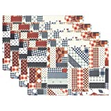 bennigiry Valentine 's Day Tisch-Sets Tisch Matte, Bohemian Patchwork Polyester Tischset für Küche Esszimmer 1Stück, Polyester, mehrfarbig, 12x18x1 in