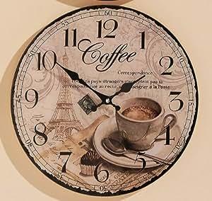 uhr b rouhr uhr zum h ngen k chenuhr dekouhr coffee d34 cm coffee. Black Bedroom Furniture Sets. Home Design Ideas