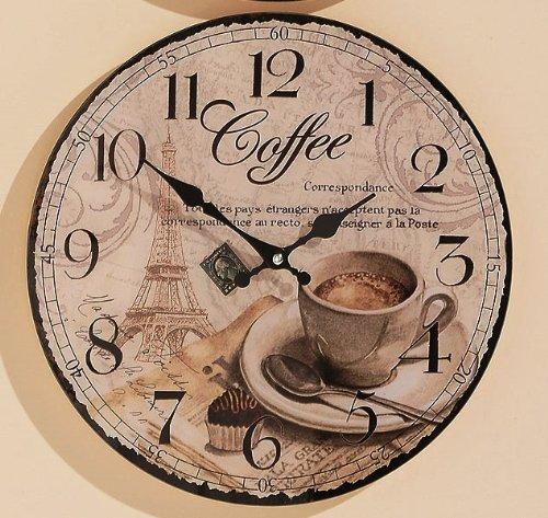 KUHEIGA Uhr Bürouhr Uhr zum Hängen Küchenuhr Dekouhr Coffee D34 cm (Coffee) - Cappuccino Küchenuhr