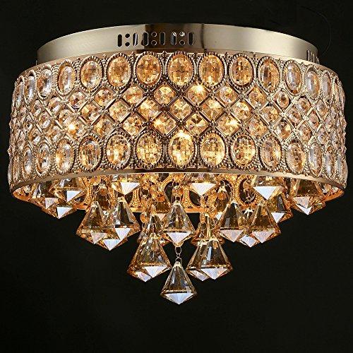 Aiwen Gold-Lampen halterung Moderne Retro-Kristall-Deckenleuchte 4 Lampenfassungen -