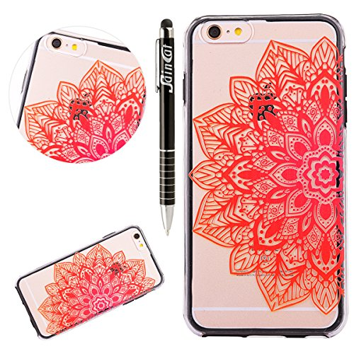 Custodia iPhone 6, iPhone 6S Cover, SainCat Custodia in Plastica Protettiva Cover per iPhone 6/6S, 3D Design Transparent Hard Case Ultra Slim Sottile Transparent Hard PC Cover Shock-Absorption Protett La metà di fiori darancio