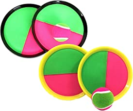 Toyvian 2 Pack Catch Ball Paddle Game Set Paddle Tennis Toy Ball Toss and Catch Sports Ball Throw Catch Bat Ball Game Set