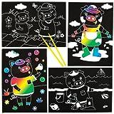 Escenas de cerditos para rascar que los niños pueden diseñar, crear y exhibir - Kit de manualidades creativas para niños (pack de 6).