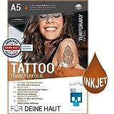 SKULLPAPER Tattoo-Transferfolie FÜR DIE HAUT - zum aufkleben und selbst gestalten - für Inkjet Tintenstrahldrucker (A5-6 Blatt)