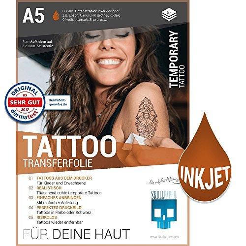 SKULLPAPER Tattoo-Transferfolie FÜR DIE HAUT - zum aufkleben und selbst gestalten - für Inkjet...