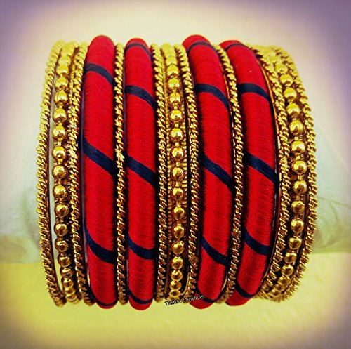 black-and-red-silk-thread-jewellery-bangle-set