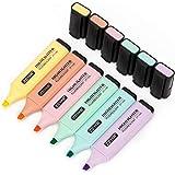 قلم تحديد بطرف على شكل إزميل بألوان الباستيل من زيار، ألوان متنوعة، قاعدة مائية، سريع الجفاف (6 ألوان ماكارون)