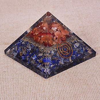 Natürlicher Kristall Lapislazuli & Karneol Orgon Pyramide für EMF Schutz & Heilmeditation Orgonit Pyramiden