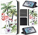 CoverFix Premium Hülle für Samsung Galaxy A5 (Modell 2016) A510 Flip Cover Schutzhülle Kunstleder Flip Case Motiv (507 Vogel Flamingo Palmen Blumen Grün Rot)