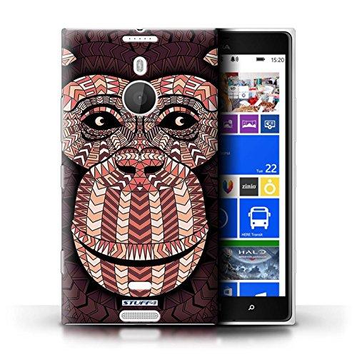 Coque en plastique pour Nokia Lumia 1520 Collection Motif Animaux Aztec - Loup-Mono Singe-Rouge