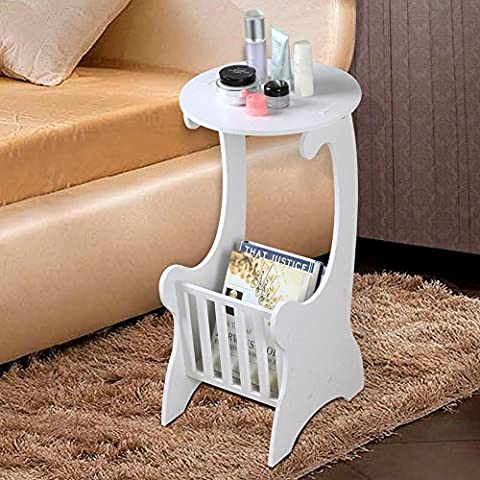 tinkertonk White Modern Design Round Coffee Tea Table Side End Table with Storage Rack Living Room