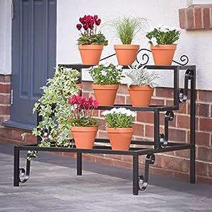 etag res de jardin pour fleurs et plantes acier noir jardin. Black Bedroom Furniture Sets. Home Design Ideas
