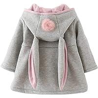 Bébé Filles Manteau avec Boule de Poils Charmant Oreille Sweat à Capuche Veste Chaud Hiver Encapuchonné Cap Manteau