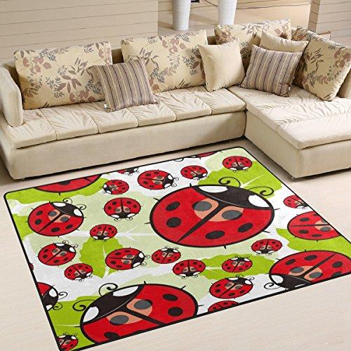 Marienkäfer Teppich (Use7 Teppich, Motiv Marienkäfer auf Blättern, für Wohnzimmer, Schlafzimmer, Textil, Mehrfarbig, 160cm x 122cm(5.3 x 4 feet))