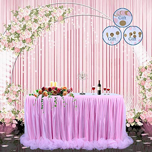 -Version】 Tischrock Tüll Tischrock Long Tutu Tüll Eleganter Tisch Tischrock Tischdecke für runden Tisch & Rechteck, für Partys, Hochzeit, Baby Shower Dekoration & Dusche (pink) ()