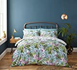 Catherine Lansfield, set con copripiumino, motivo foglie tropicali, in cotone, Verde, Set piumino doppio matrimoniale