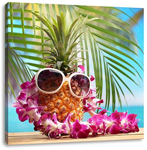 Pixxprint Ananas Urlaubsfeeling mit Sonnenbrille, Format: 40x40 auf Leinwand