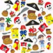 Pirate Foam Stickers 12 Assorted Designs Kid's Craft Activities, Embellishments for Decorating, Scapbooking & Card Making (Pack of 96)