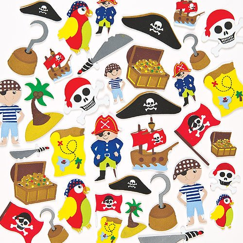 Moosgummi Aufkleber Piraten für Kinder zum Verzieren von Karten und Bastelprojekten (96 Stück)