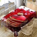 Ansenesna Tischtuch Abwaschbar Rot Weihnachten Rechteckig Tischdecke Stoff Decke Weihnachtlich Ornament Für Party (Rot, 140x140cm)