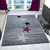 VIMODA Teppich Modern Design Grau Lila Schwarz Weiß Jugendzimmer Kurzflor Stern Muster - Pflegeleicht und Top Qualität, Maße:80x150 cm