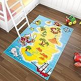 Tapiso Kinder Teppich Kurzflor Spielplatz Spielteppich Piraten Schatzkarte Muster Blau Gelb Bunt Kinderzimmer ÖKOTEX 240 x 330 cm