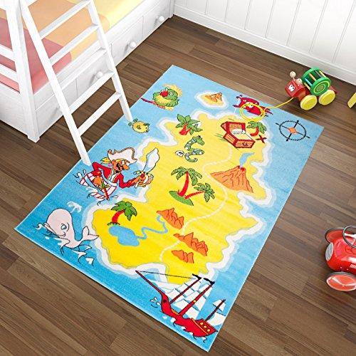 Tapiso Kinder Teppich Kurzflor Spielplatz Spielteppich Piraten Schatzkarte Muster Blau Gelb Bunt Kinderzimmer ÖKOTEX 140 x 190 cm