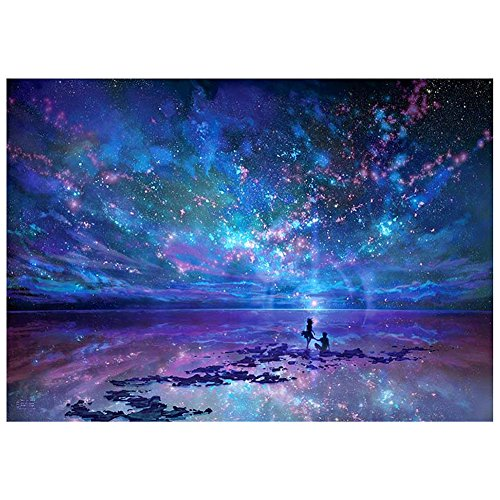 5D Diamond Painting Full Drill Set, DIY Diamond Art Kit, Rhinestone Embroidery Kit Mosaic Paintings Cross Stitch for Adults Children Kids Painting Beginner Purple Sky