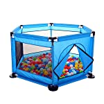 Baby Kids Playpen Activity Center Room Fitted Floor - with 50 pcs Balls Safety Protection Care Crawling Folding Fence...