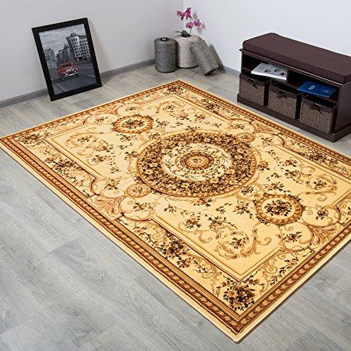 TAPISO YESEMEK Klassisch Teppich Kurzflor | Orientalisch Teppiche mit Floral Medaillon Muster und Bordüre in Creme Beige | Barock Design Ideal...