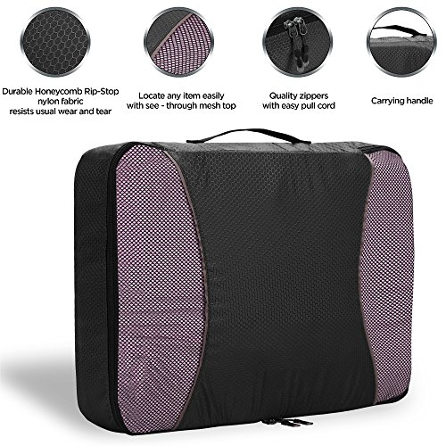 Verpackung Cubes – 4 Set Travel Organisatoren mit Wäschesack, Camping Rucksackreisen Organisatoren Gepäck Rucksack Tasche