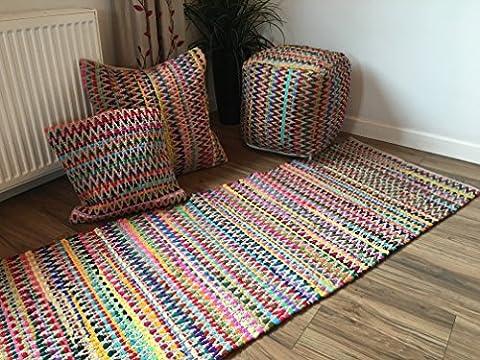 Gorgeous Multi Colour Zig Zag Design Soft Indian Runner Rug