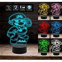 Lampada a led con 7 colori selezionabili luce da notte SUPER MARIO Idea regalo compleanno bambino da tavolo Decorazione della casa Night Light